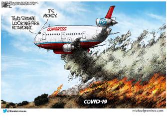 Political Cartoon U.S. Congress coronavirus money