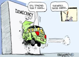Political Cartoon U.S. Trump crash test dummies democracy lawsuits