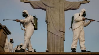 Members of Brazils military disinfect the Christ the Redeemer statue.
