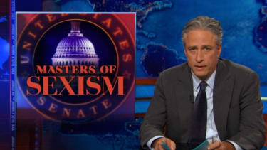 Jon Stewart ruthlessly mocks the sexist old men of the Senate, and their defenders at Fox News