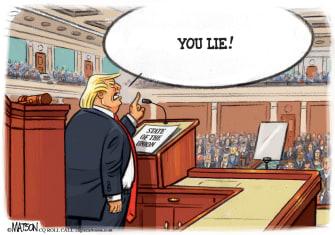 Political Cartoon U.S. Trump SOTU heckler congress