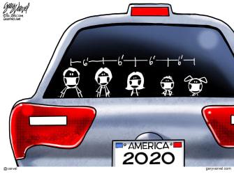 Editorial Cartoon U.S. social distancing covid family