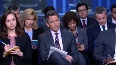 Seth Meyers with the rest of the Late Night press corps.
