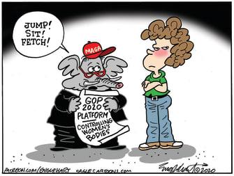 Political Cartoon U.S. Trump Make America Great Again Republicans Controlling Women's Bodies