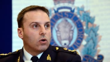 RCMP Assistant Commissioner James Malizia speaks during a news conference in Toronto, Ontario, April 22.