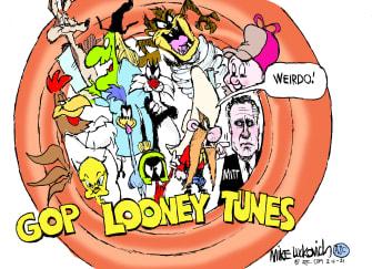 Political Cartoon U.S. GOP looney tunes qanon greene romney