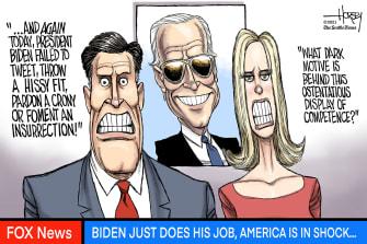 Political Cartoon U.S. biden fox news