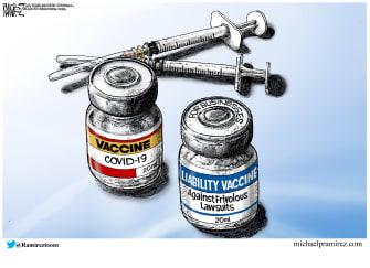 Editorial Cartoon U.S. covid vaccine insurance liability