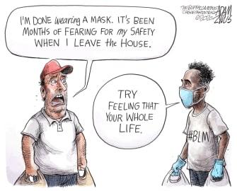 Editorial Cartoon U.S. coronavirus masks BLM racism