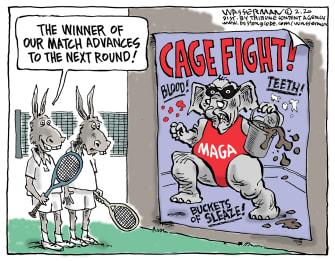 Political Cartoon U.S. Dems 2020 election GOP cage fight