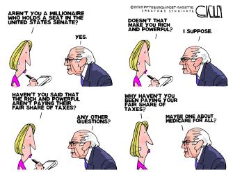 Political Cartoon U.S. Bernie Sanders millionaire taxes medicare for all