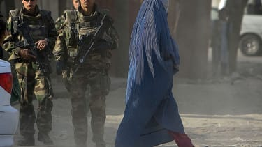 French NATO soldiers patrol the streets of Kabul in 2008.
