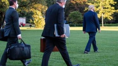 President Trump walks to Marine One.