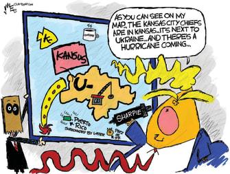 Political Cartoon U.S. Trump Super Bowl Kansas City Chiefs map