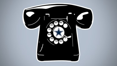 A rotary telephone.
