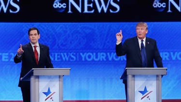 Sen. Marco Rubio and Donald Trump.