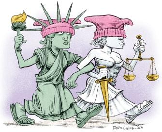 Political Cartoon U.S. Womens March on Washington