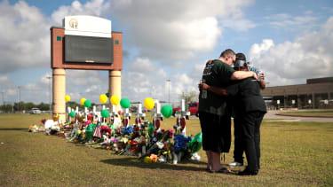 Mourners outside Santa Fe High School.