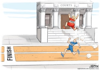 Political Cartoon U.S. Trump Biden 2020 courts