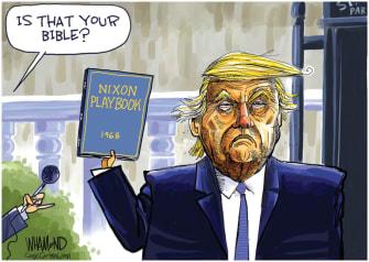 Political Cartoon U.S. Trump Bible photo op Nixon playbook