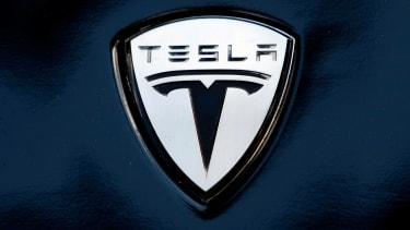 The Tesla logo on a vehicle in Washington