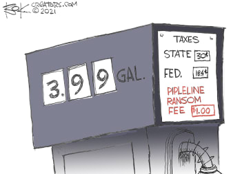 Editorial Cartoon U.S. colonial pipeline hack gas prices