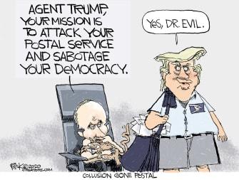 Political Cartoon U.S. Trump Putin USPS Dr Evil