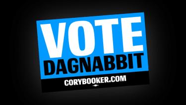 Cory Booker sticker reading vote dagnabbit.