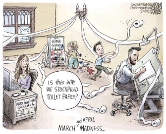 Editorial Cartoon U.S. work from home school March and April madness toilet paper