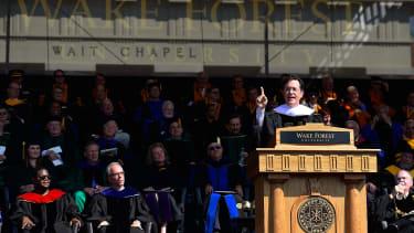 Stephen Colbert gives a graduation speech at Wake Forest University