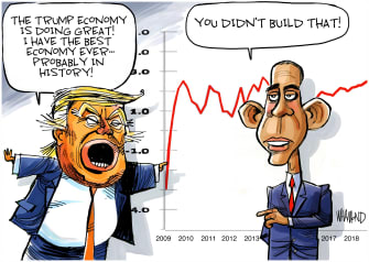 Political Cartoon U.S. Trump Obama 2009 Recovery Act economy stimulus package charts
