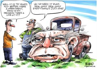 Political Cartoon U.S. Sanders Medical records heart attack