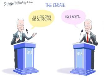 Political Cartoon U.S. Biden oil industry debate