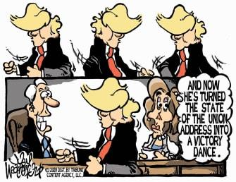 Political Cartoon U.S. Trump Nancy Pelosi Mike Pence State of the Union speech victory dance