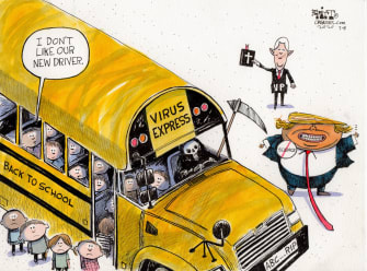 Political Cartoon U.S. Trump Pence coronavirus school