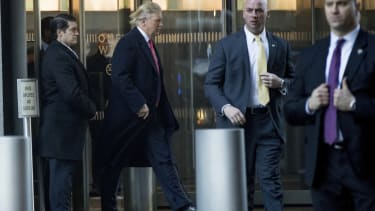 President-elect Donald Trump departs a meeting at the Condé Nast offices at One World Trade Center in New York, Friday, Jan. 6, 2017.