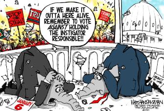 Political Cartoon U.S. GOP capitol riot trump impeachment