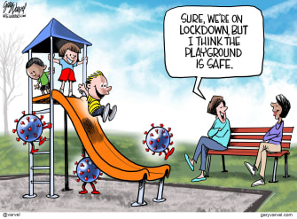 Editorial Cartoon U.S. Coronavirus COVID-19 playground children germs