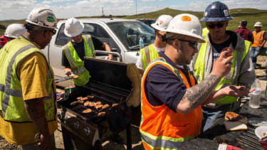 Oil workers eating lunch