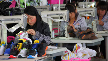 A factory that makes shoes in China