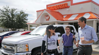 Beto O'Rourke at a Whatabuger