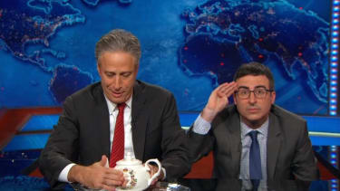 Jon Stewart hands The Daily Show to John Oliver to promote Rosewater