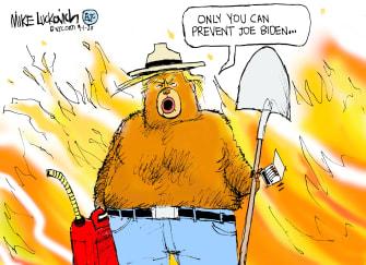 Editorial Cartoon U.S. Trump Biden Smoky fires