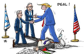 Political Cartoon U.S. Trump Netanyahu peace talk Israel Palestine stepped on