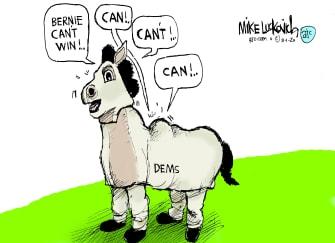 Political Cartoon U.S. DNC Democrats Bernie Sanders 2020 nomination primaries donkeys