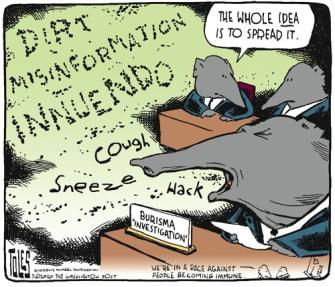 Political Cartoon U.S. GOP Joe Biden Hunter Biden congressional investigation spreading misinformation innuendo