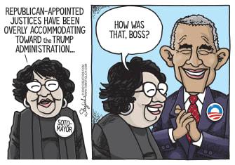 Political Cartoon U.S. Obama Sotomayor Trump administration justices