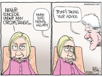 Political Cartoon U.S. Trump Hillary Bill Clinton concede