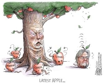 Political Cartoon U.S. Trump rotten apples Bannon