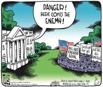 Political Cartoon U.S. Trump George Floyd protesters